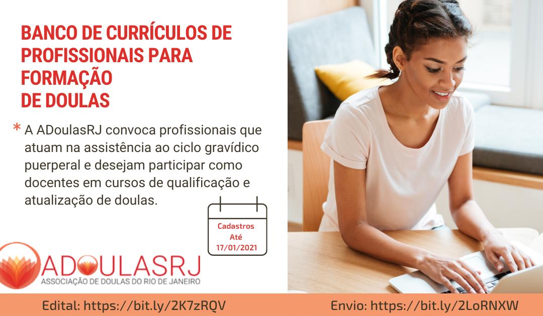 EDITAL nº 02 ADOULASRJ  BANCO DE CURRÍCULOS DE PROFISSIONAIS PARA FORMAÇÃO DE DOULAS